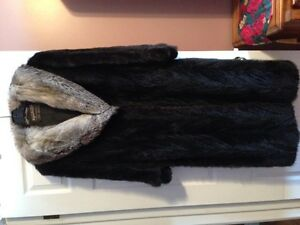 Mink tail and silver fox fur coat.  Purchased at Vogue.