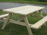 Gabage bins and picnic tables