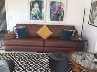 Italian leather settee 265cm long