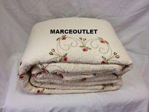 Modern Heirloom Collection Rose Garden QUEEN Embroidered Bedspread & STD Shams