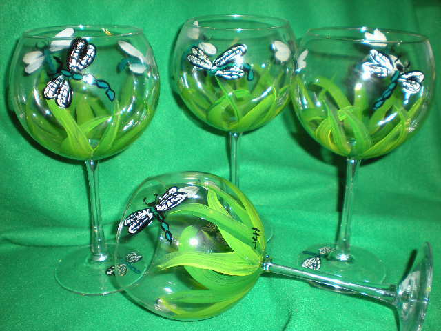 HAND PAINTED GRASS AND DRAGONFLIES ON 19 OUNCE  GOBLETS/ SET/4(MADE IN THE USA)