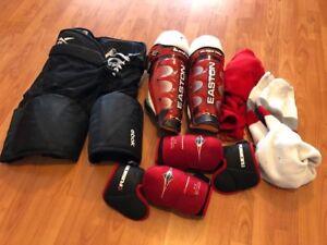 Mens Medium Hockey Gear - Easton Shin, Elbow, Reebok Pants