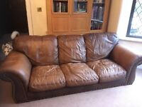 Leather sofa, Chesterfield style distressed leather cigar club