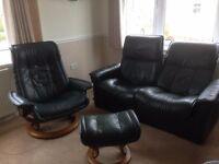 FIVE PIECE Ekornes Stressless reclining sofa 2 armchairs & footstools...dark green