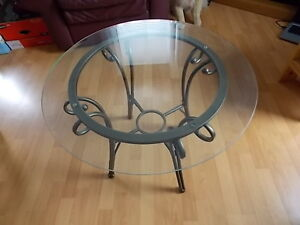 Pair of Metal & Glass End Tables