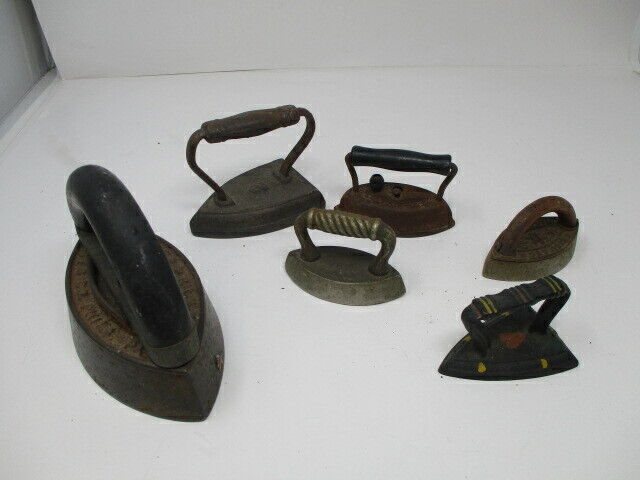 Lot of 6  Antique Press Irons   Six Assorted Sizes   Good Pre-owned Condition