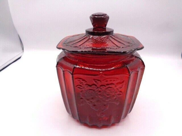VINTAGE MAYFAIR OPEN  ROSE - RUBY  RED LIDDED  COOKIE- BISCUIT  JAR- SUPERB