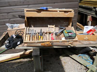 JOINERS TOOL BOX + TOOLS +JIG SAW + SANDER +PLANER