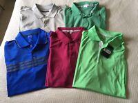 Five men's Golf polo shirts XL