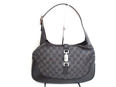 Auth GUCCI GG/Jackie 00963 Black Jacquard & Leather Shoulder Bag