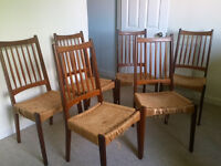 6 sturdy Rush Seat dining chairs in need of some repair