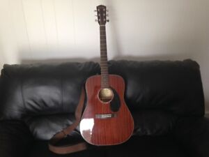 FENDER CD-60S ALL MAHOGANY GUITAR with strap and gig case