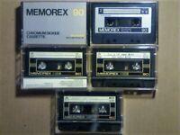 JL £15 WITH FREE P&P. 5x RARE MEMOREX CHROME CASSETTE TAPES 1974-1986 JOB LOT OR SOLO SALES