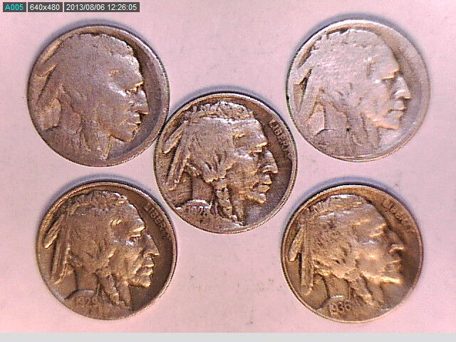 LOT OF FIVE BUFFALO NICKEL 5 CENT COINS (NICE)