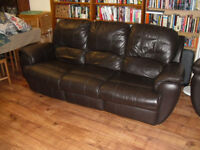 Three seater couch with 2 outer seats as easy boys, Brown Leather, Bought at DFS used.