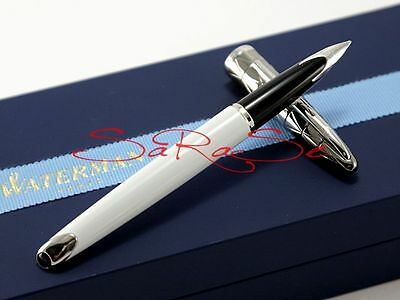 Waterman Carene Fountain Pen Patent White & Gunmetal 18kt. Pen NEW