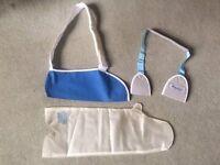 Broken Wrist equipment! - plastercast waterguard & slings - size small