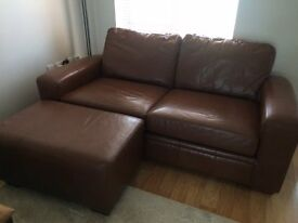 NEXT Brown Leather Large 2 Seater Sofa & Footstool