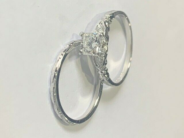 Engagement Ring Set, Size 5.25, Size 5.50 Band, 3 Diamond, Certified Appraisal - $3,400.00