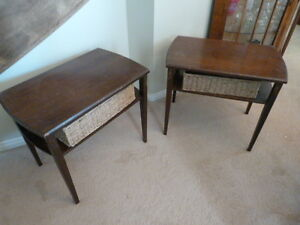 Set of Two Matching Vintage End Tables with Baskets