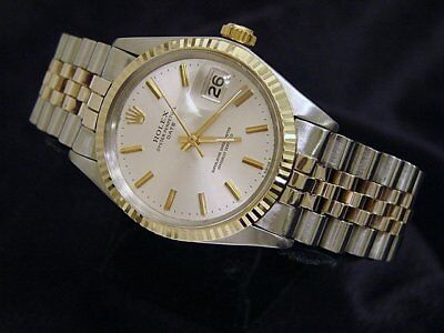 Rolex Date Mens 2Tone Yellow Gold Stainless Steel Watch Silver Dial Jubilee