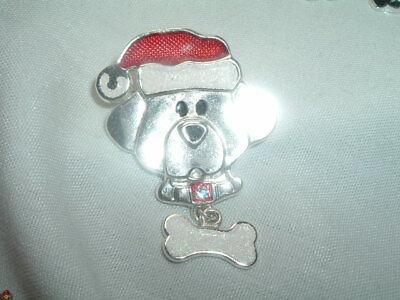 VINTAGE CHRISTMAS SANTA DOG PUPPY PIN W BONE ENAMEL AND RHINESTONE IN GIFT BOX