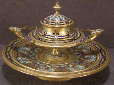 Collectibles The Cheapest Price Antique French Champleve~enameled Bronze Inkwell Metalware