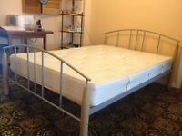"Smart metal frame double bed (4' 6"") plus clean, comfy mattress"