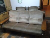 **PRICE DROP** 3+1+1 Sofa & Chairs, Traditional chunky wooden frame in immaculate condition.