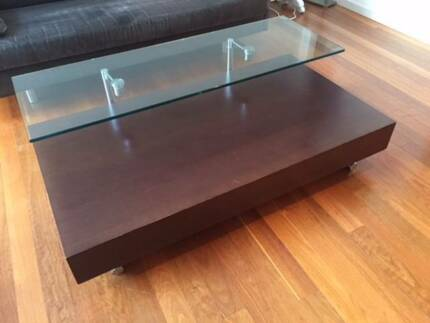 Wenge Coffee Table with Pivoting Glass Top - moving house