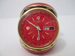 VTG ELGIN Time RED Clamshell World Travel Alarm Clock Round Japan