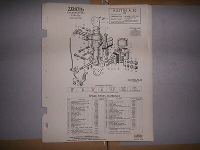 ZENITH 26VME CARB AUSTIN A30 SPARE PARTS SHEET