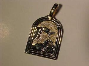 """#3542-10K YELLOW GOLD Baptisum Metal. Nice size Over 1"""" Clean back for engraving. FREE S/H Canada only Regular letter"""
