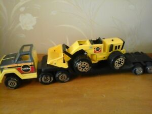 Tonka  Truck and Flat Bed Trailer with Metal Front-End Loader
