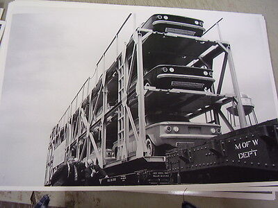 1960 ? CHEVROLET CORVAIR NEW CARS STACKED ON TRAIN 12 X 18  LARGE PICTURE  PHOTO