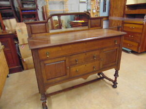 MAHOGANY ANTIQUE BUFFET WITH MIRROR