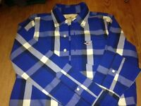 Brand new unworn Hollister boys checked cotton shirt blue and white check Small (age 11 - 12)