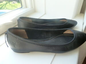 Fry black leather womens flats as new