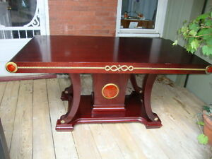 Beautiful Oriental Chinese wood dinning table with marble insert