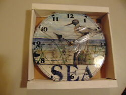 Round Ceramic Battery Wall 10 Clock Sea Bird Duck