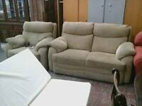 Beige sofa suite & electric armchair recliner suite