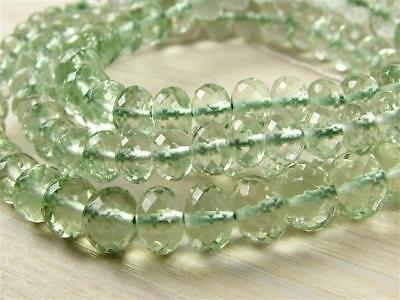 AAA Green AMETHYST 12mm to 6mm (2 Micro Faceted Rondelle Beads) Select-a-size Green Amethyst Beads