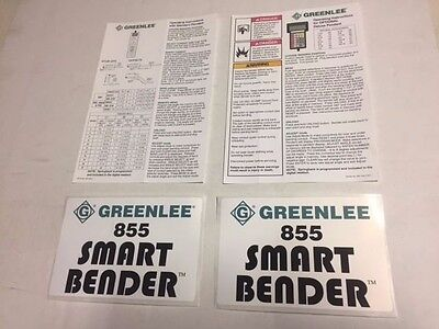 New Greenlee 855 Conduit Pipe Bender Decal Kit Smart Quad Bender Sticker Part