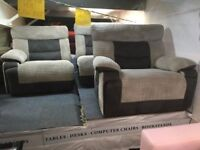 GREY/LIGHT GREY JUMBO CORD SUEDE 3 SEATER+ARMCHAIR MANUAL RECLINERS