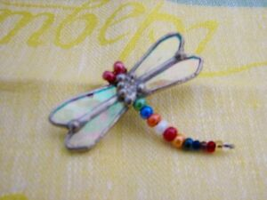 HANDMADE Stained Glass Brooch Pin, Dragonfly, NEW One of A Kind
