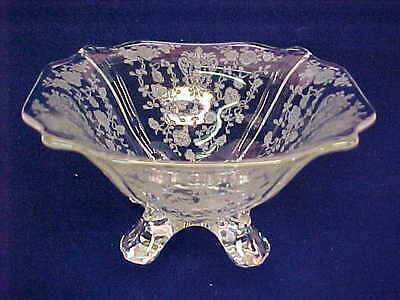 "Cambridge Rose Point Crystal Glass 4 Footed Bowl 5 1/2"" Wide"