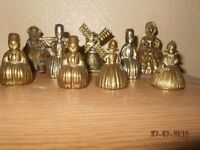 set of 8 brass lady bells and 1 windmill