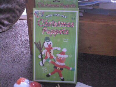 Crafty Kits MAKE YOUR OWN CHRISTMAS PUPPETS stocking filler  Snowman + Santa