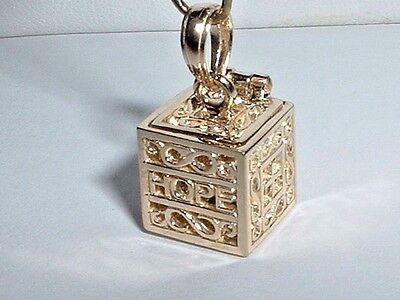 14K YELLOW GOLD 3D RELIGIOUS PRAYER BOX CHARM - It opens up