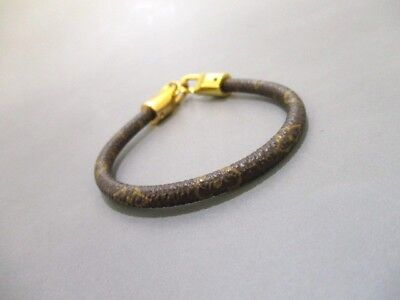 Auth LOUIS VUITTON Monogram Gold Monogram Canvas Bracelet